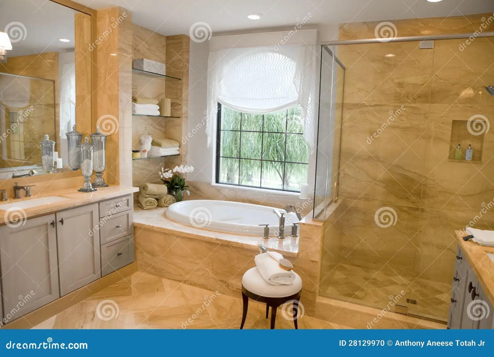 Large Upscale Master Bathroom Stock Photo  Image 28129970