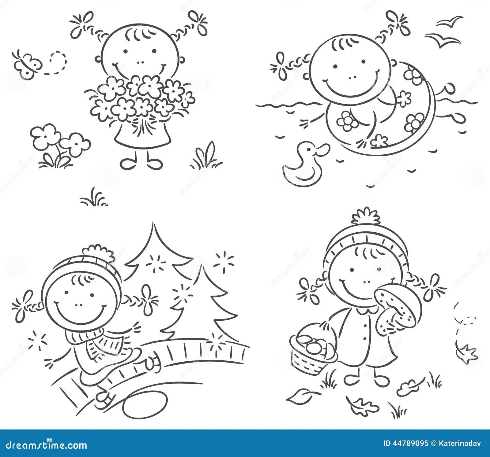 Las Actividades De La Muchacha Durante Las Cuatro Estaciones Ilustracion Del Vector