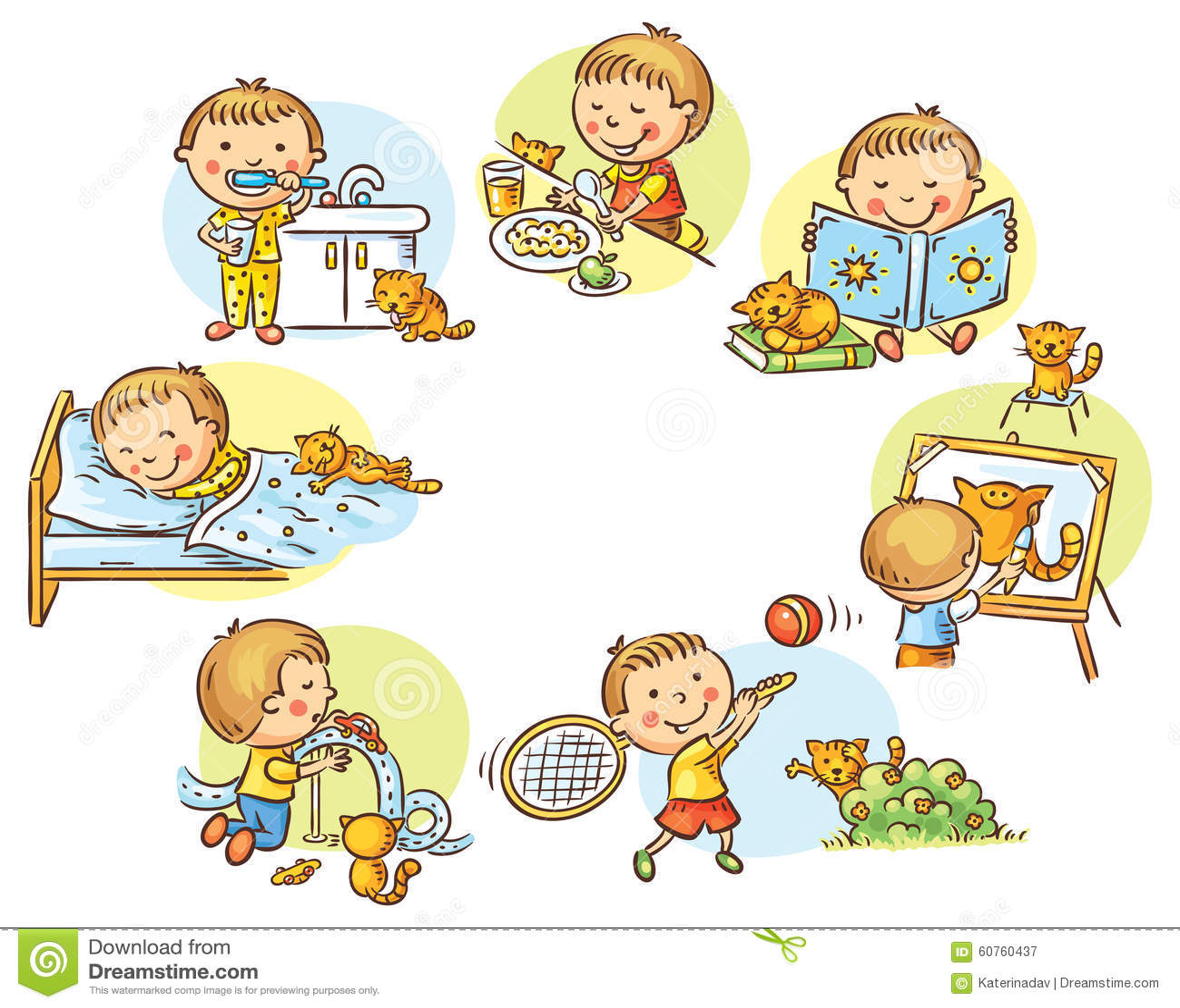 Las Actividades Diarias Del Nino Pequeno Ilustracion Del