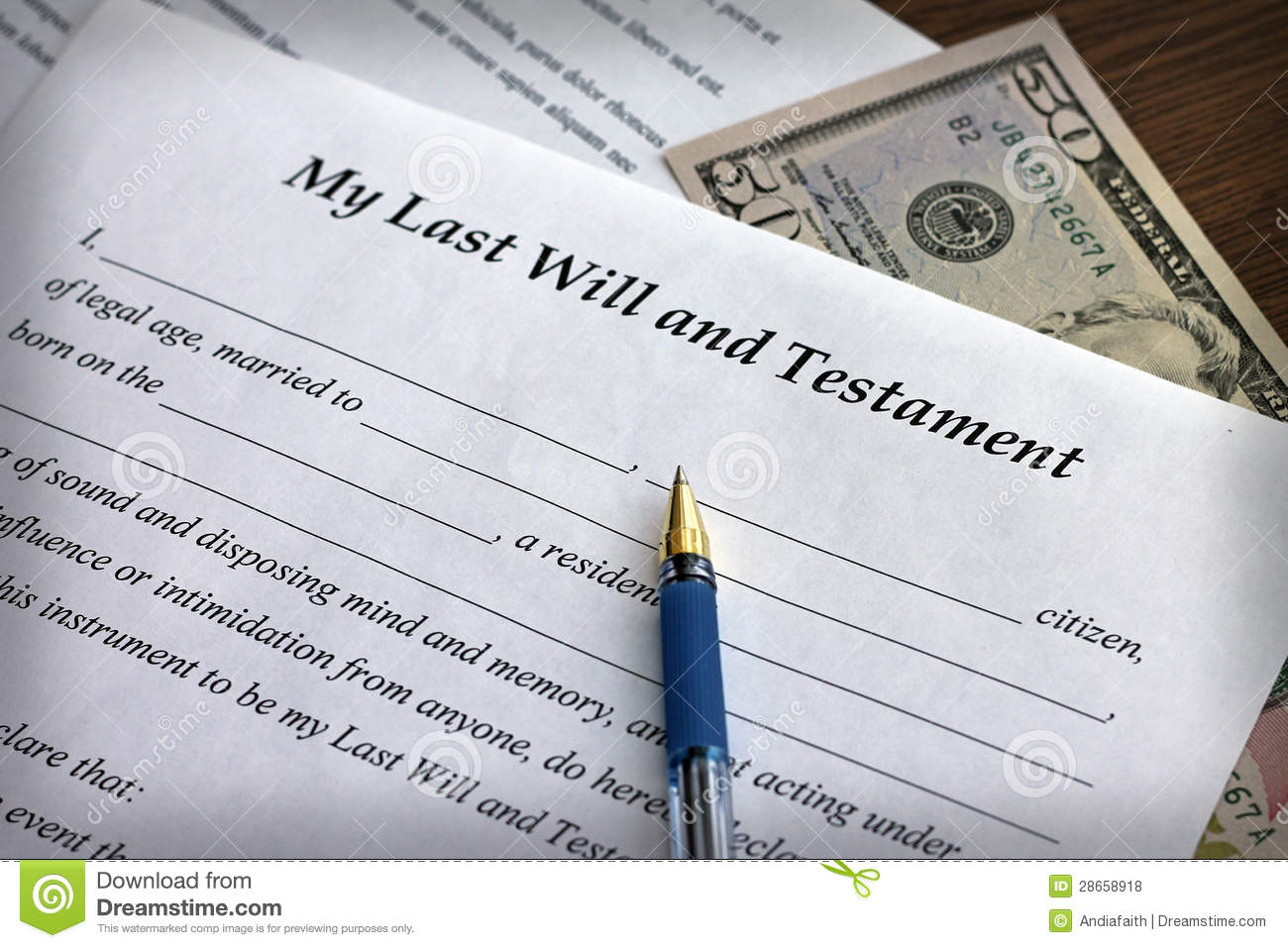 Last Will And Testament Form With Pen Stock Photo - Image of print ...