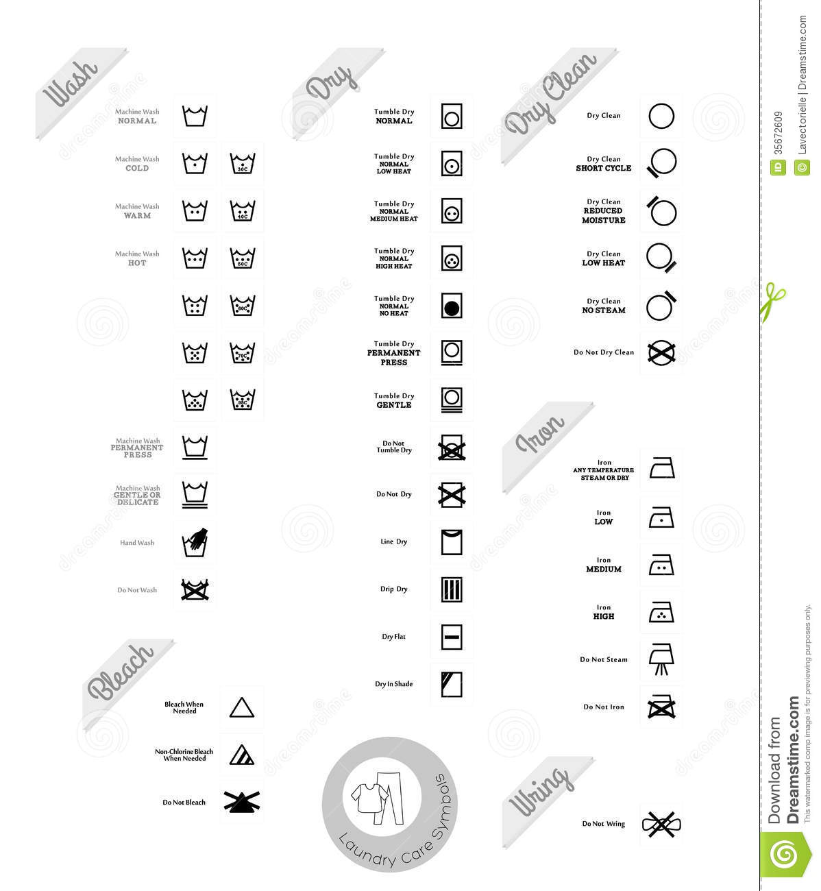 Laundry Care Symbols Stock Vector Illustration Of Style