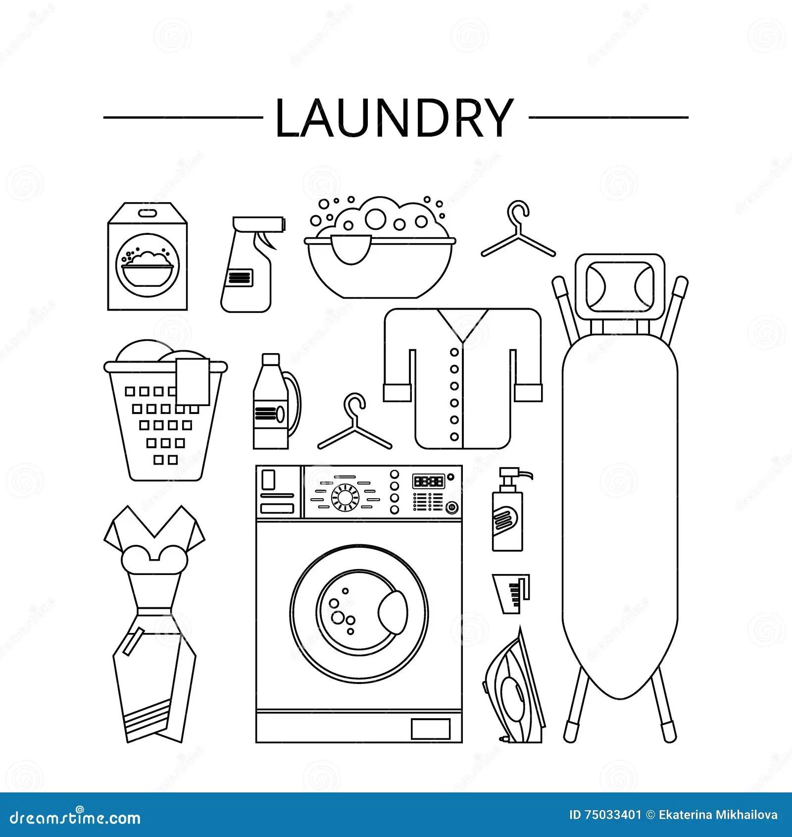 Laundry Room Flat Modern Style Cartoon Vector