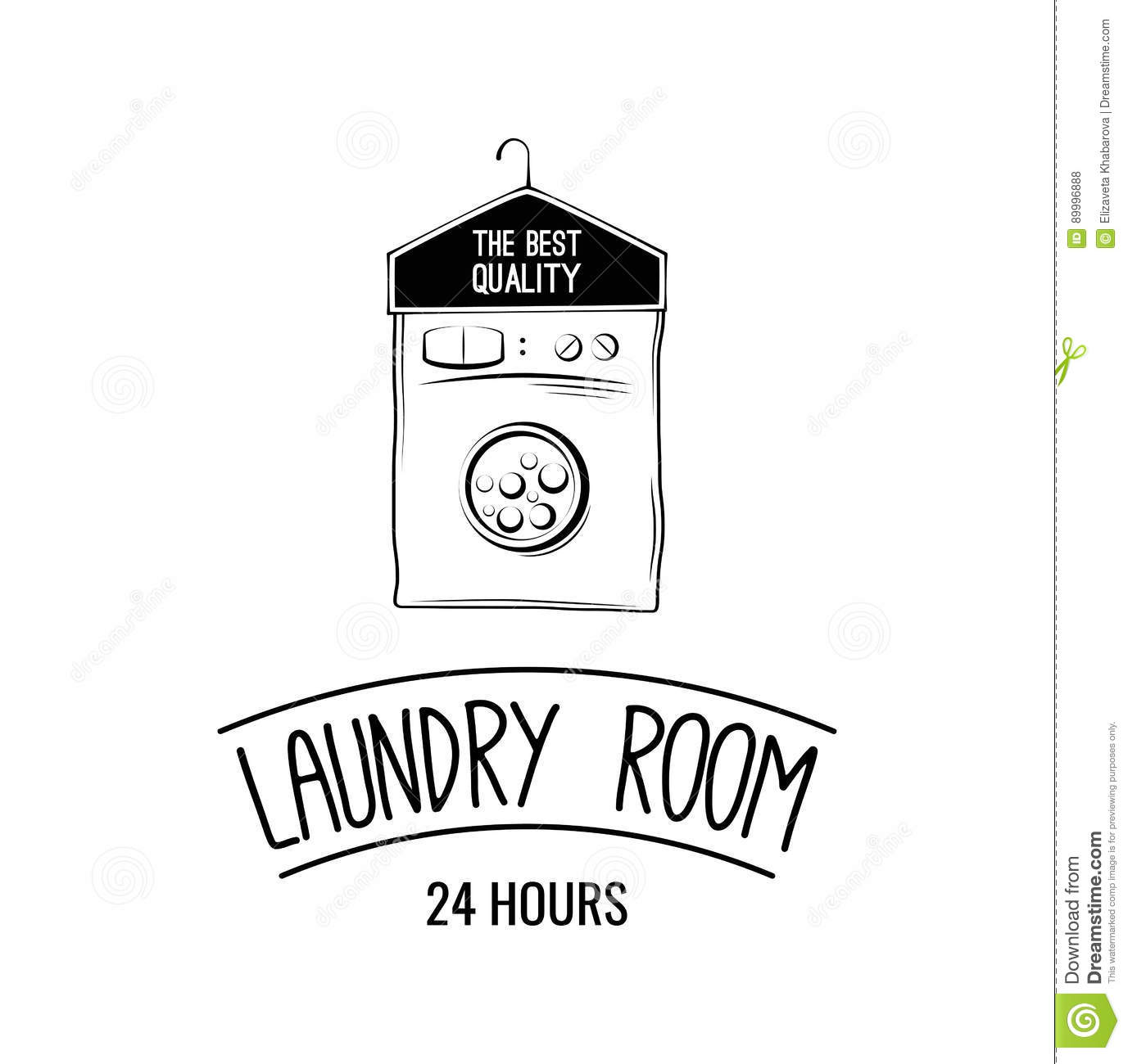 Laundry Room Label Badge Logo With Hanger Vector
