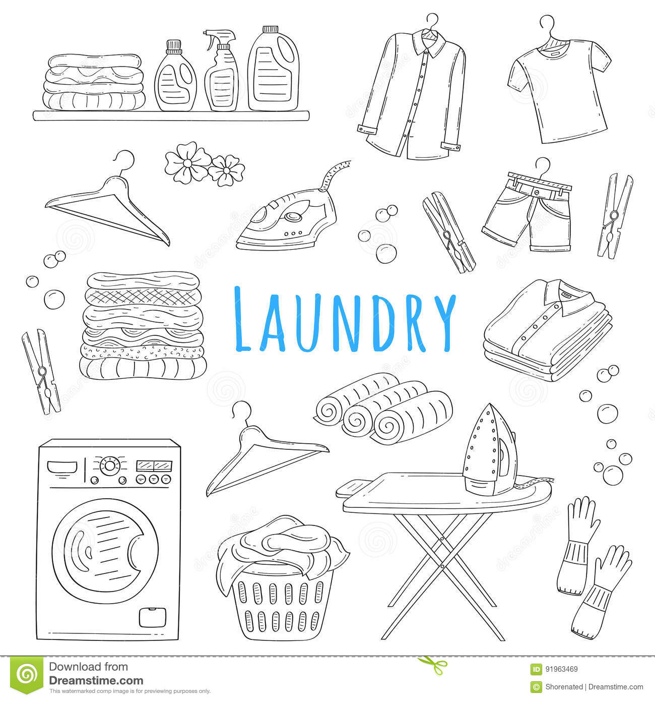 Laundry Service Thin Line Icons Set With Laundrette