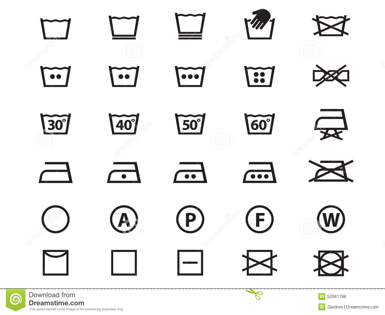 Laundry Symbols Stock Vector