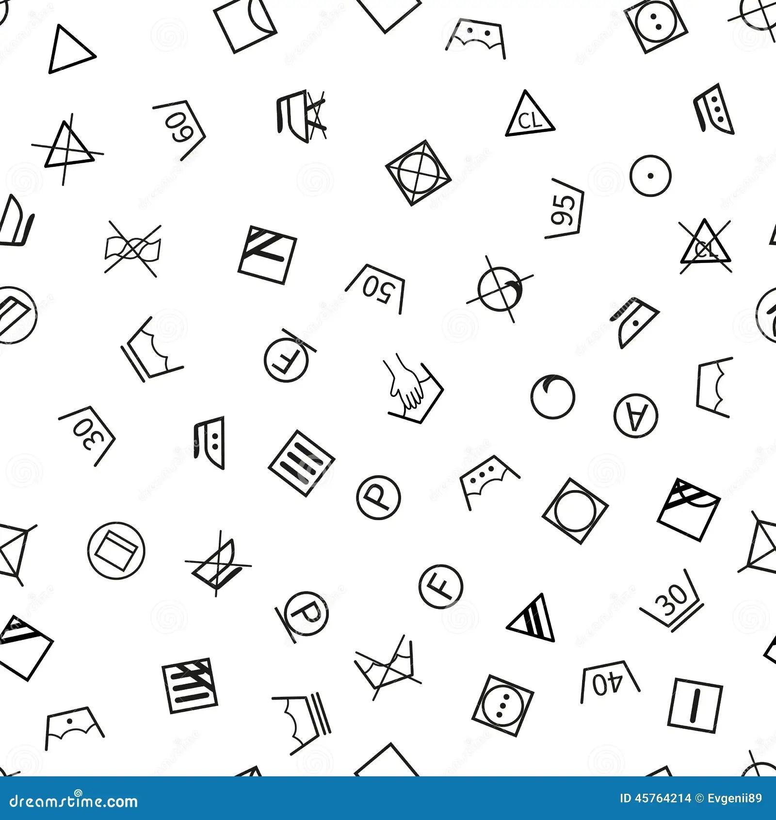 Laundry Symbols On White Background Seamless Stock Vector