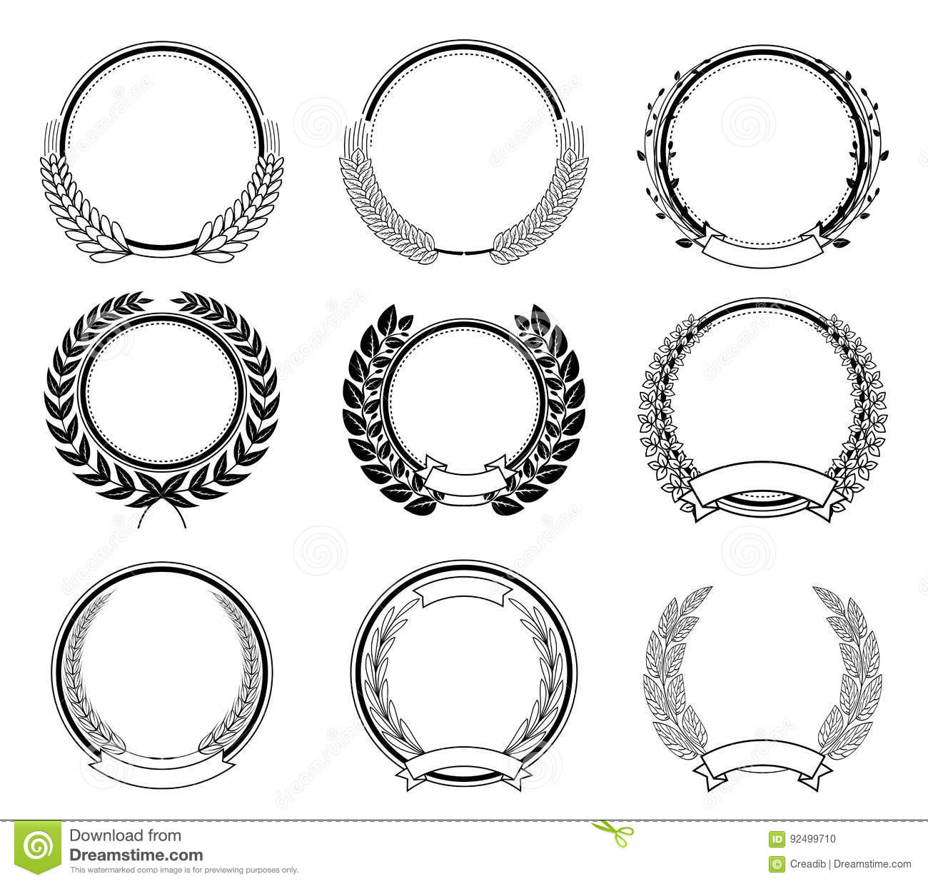 Laurel Wreath Vector Basic Black Collection Vector