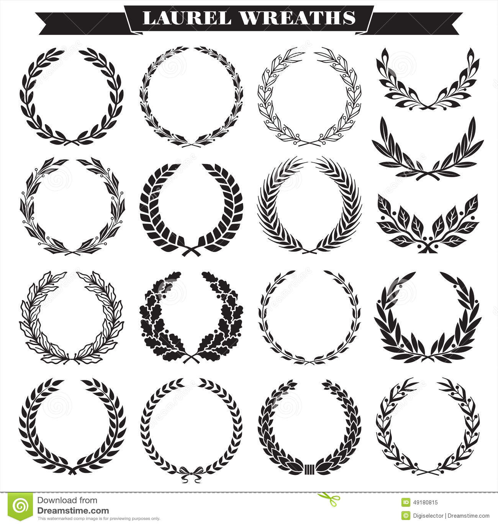 Laurel Wreaths Vector Stock Vector Illustration Of
