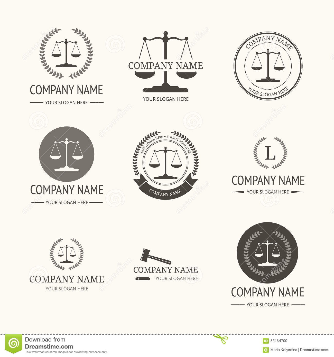 Law Firm Logo Template Set Of Vintage Labels Stock Vector