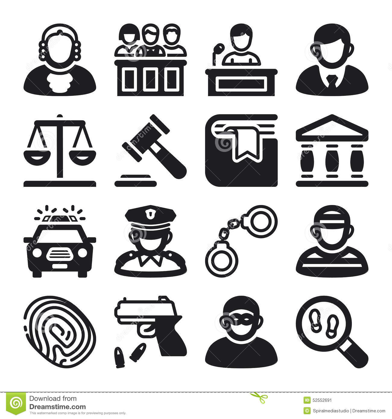 Law Flat Icons Black Stock Vector