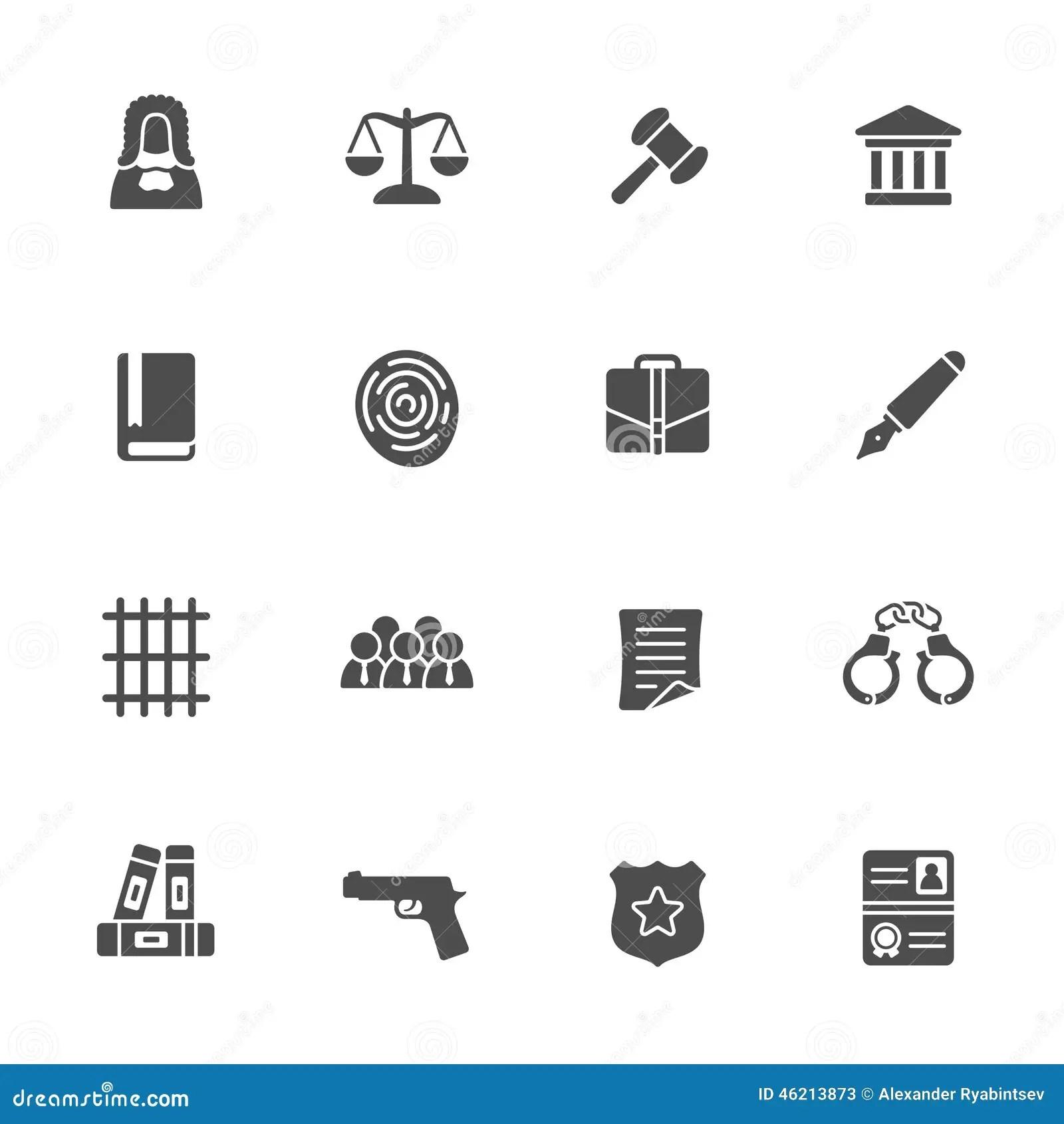 Law Icon Set Stock Vector