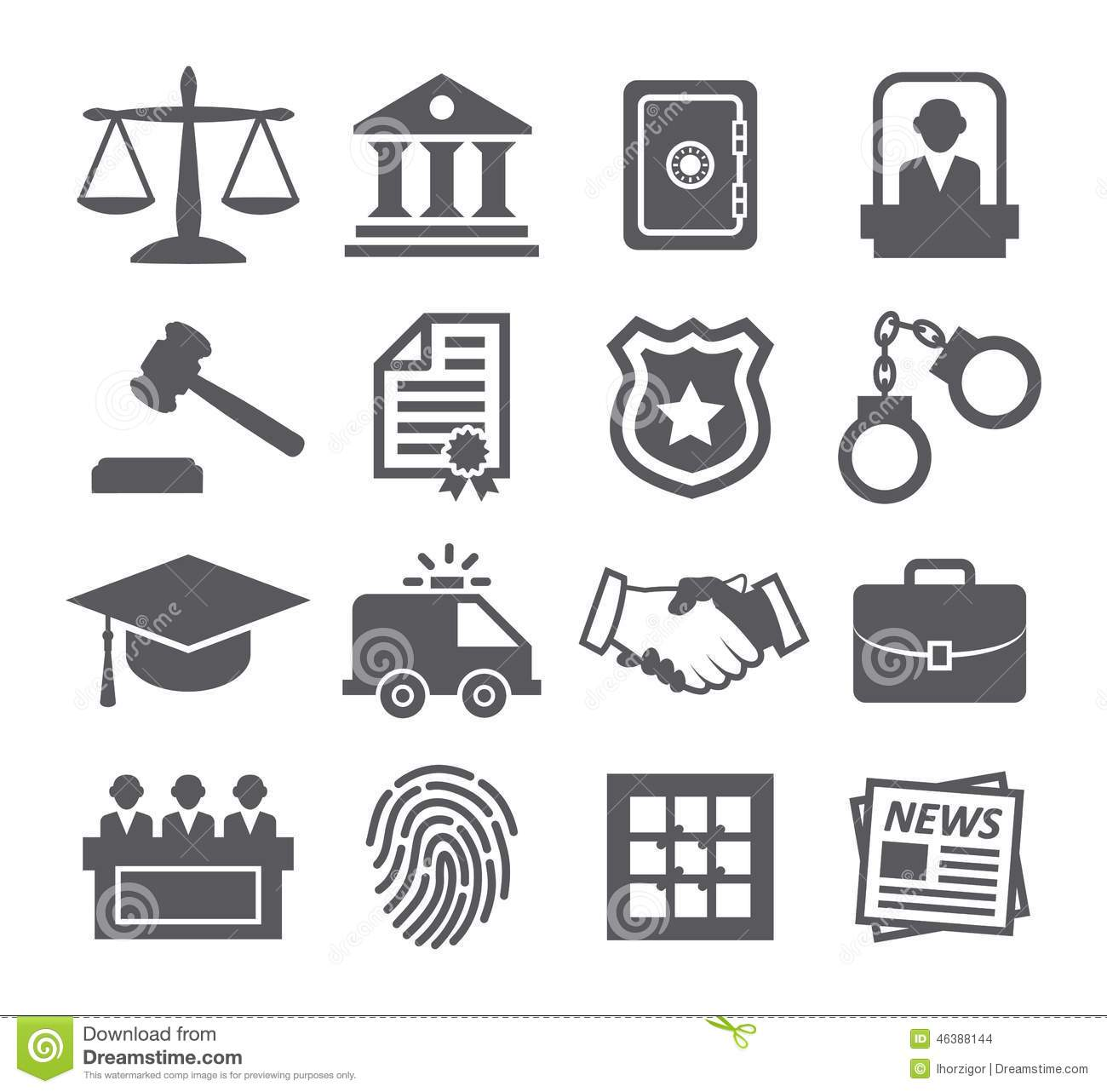 Law Icons Stock Vector