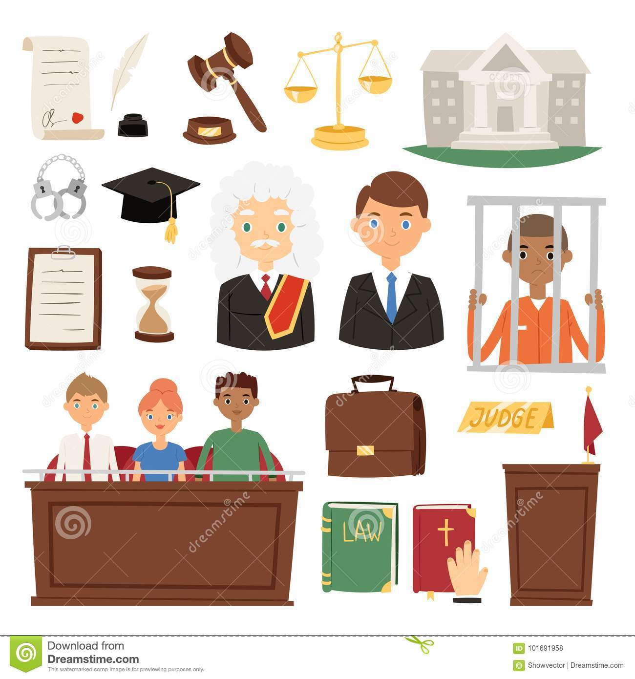Law Judge Process Legal Court Icon Set Judgement Justice