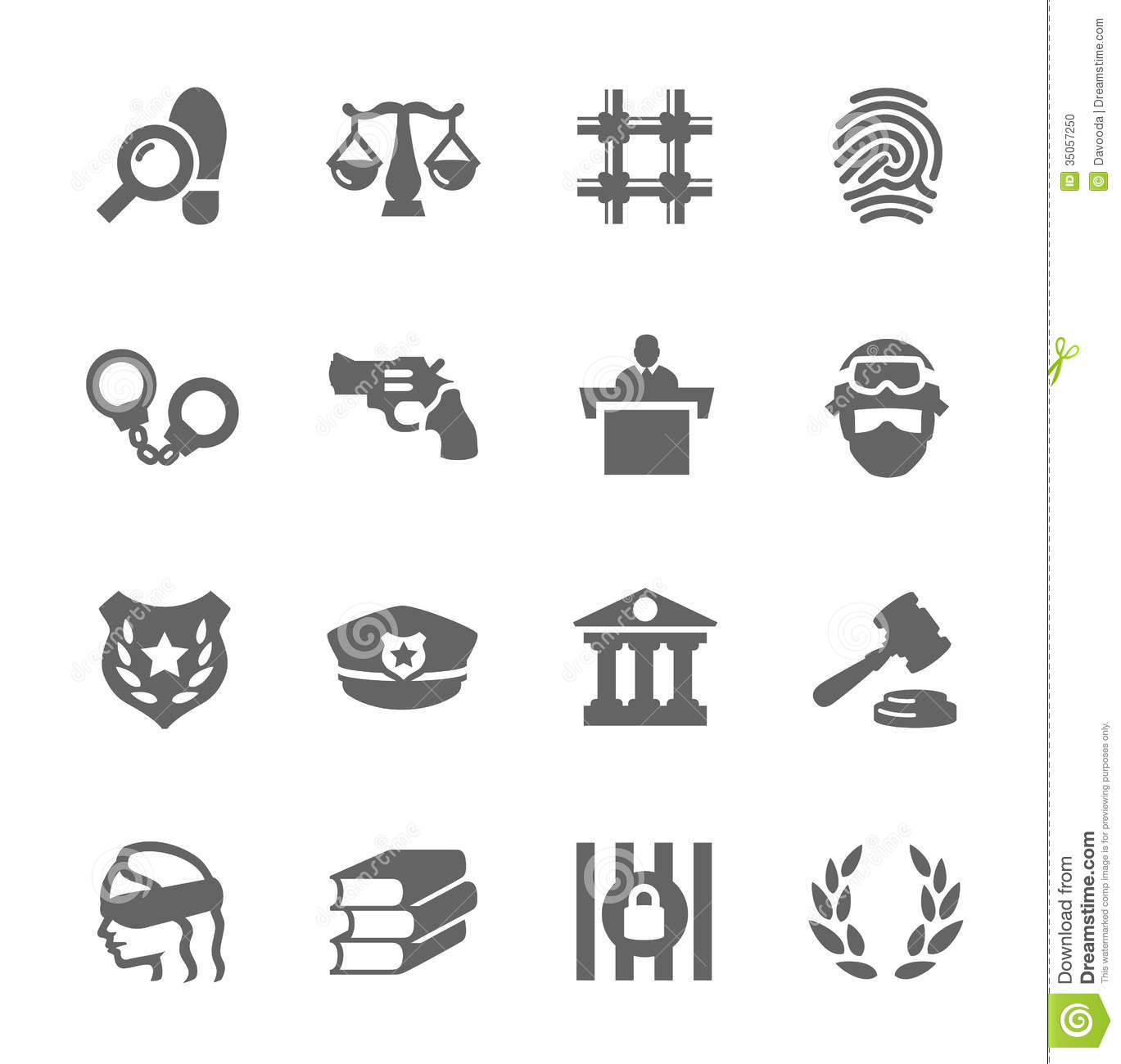 Law And Justice Icons Stock Photo