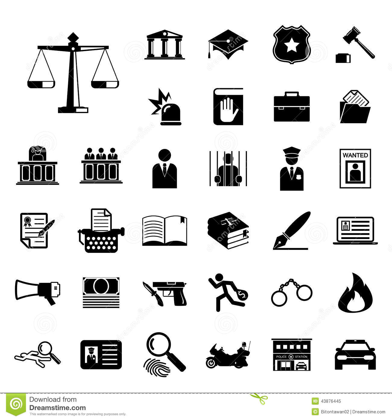 Law And Police Icon Set Stock Vector