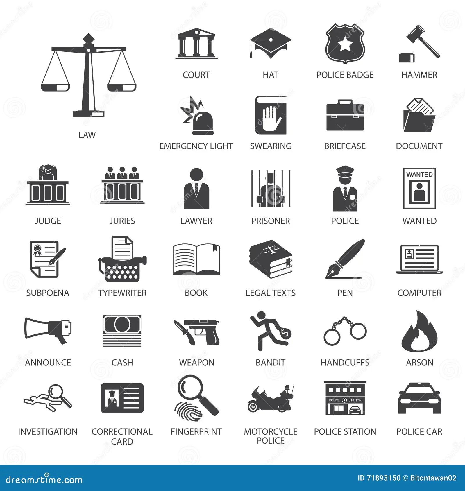 Icon Set Of Police Regimentals, Uniform, Weapons Cartoon