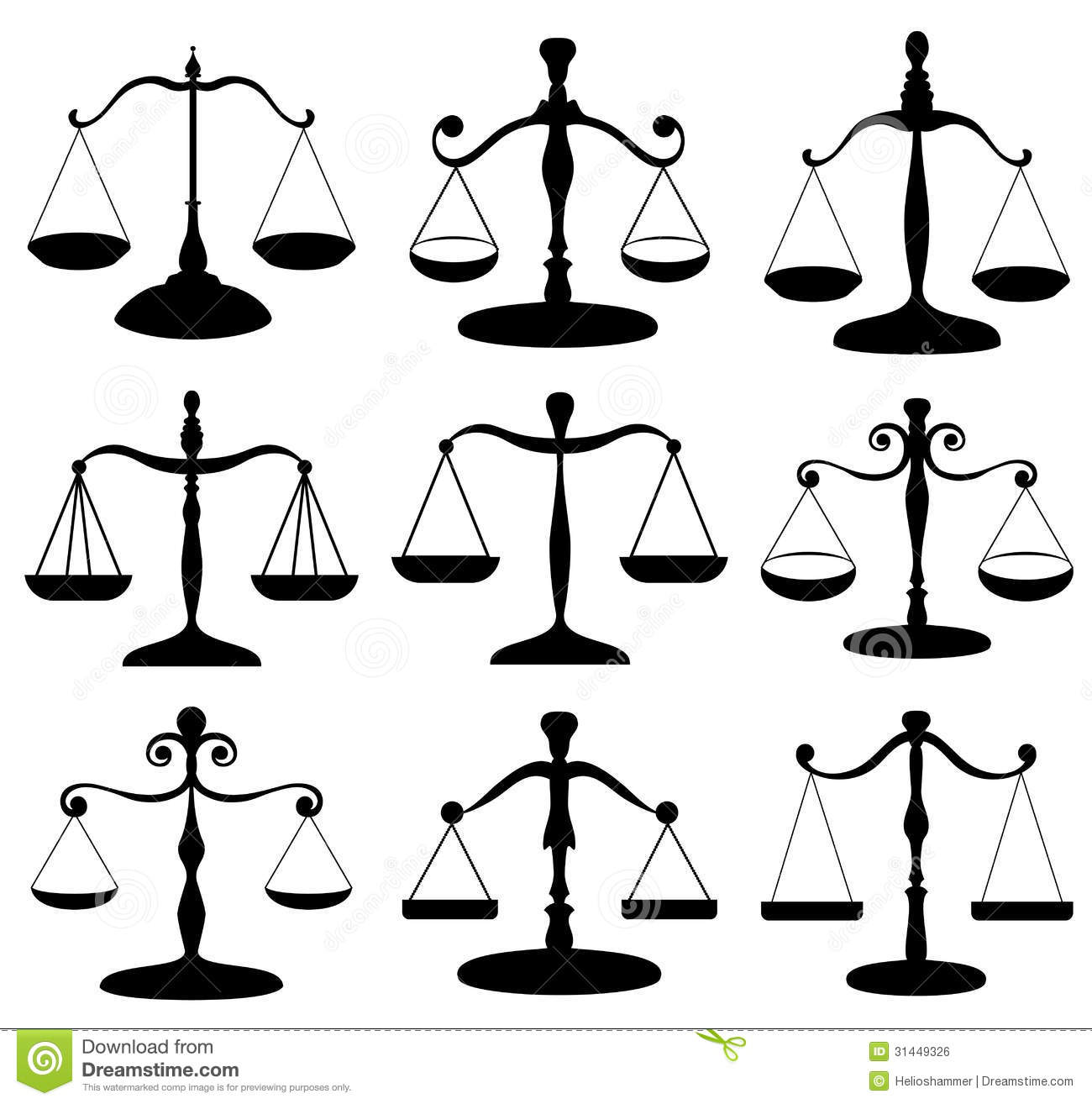Law Scale Symbol Set Stock Vector Illustration Of Justice