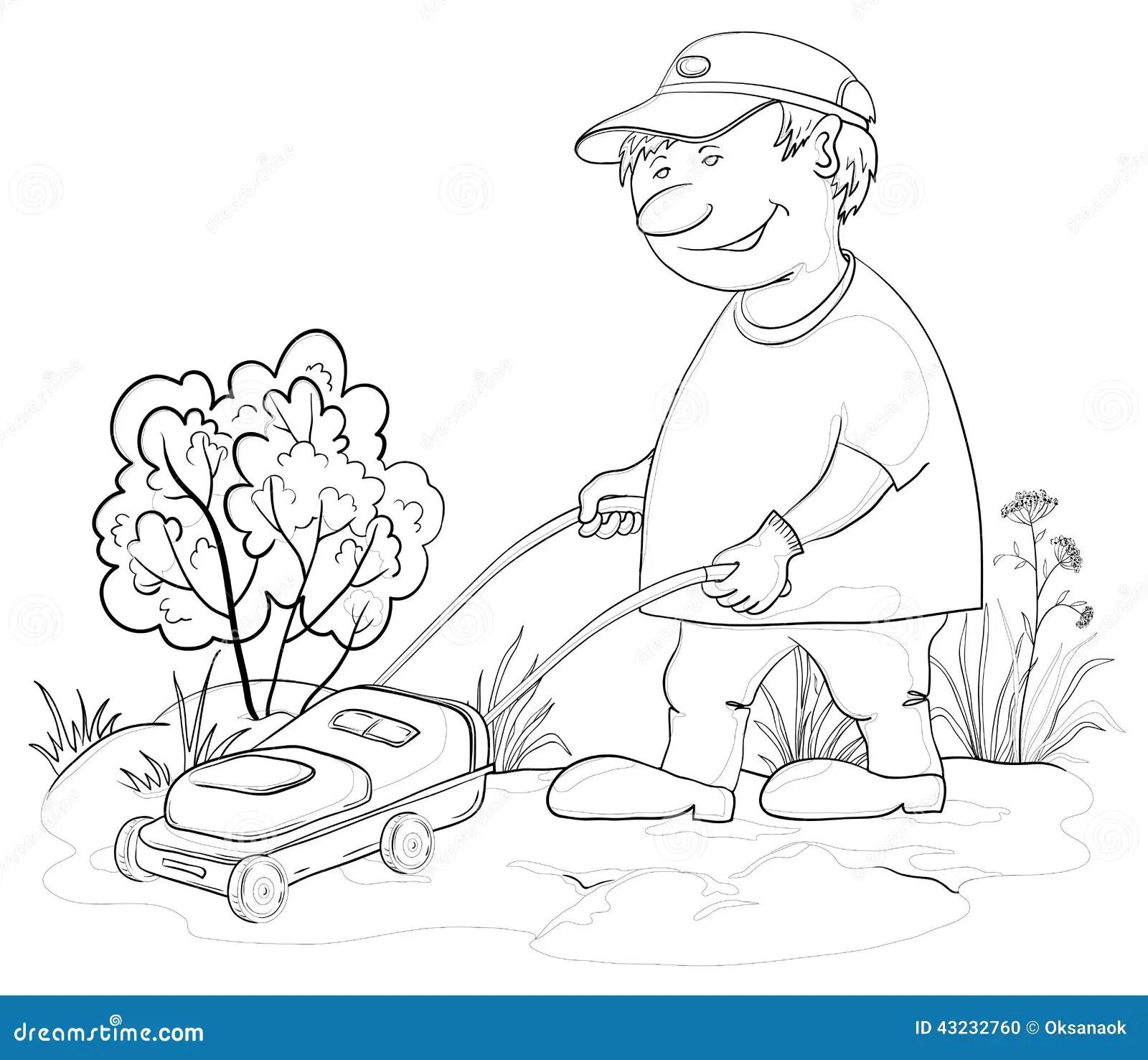 Lawn Mower Man Outline Stock Vector Illustration Of