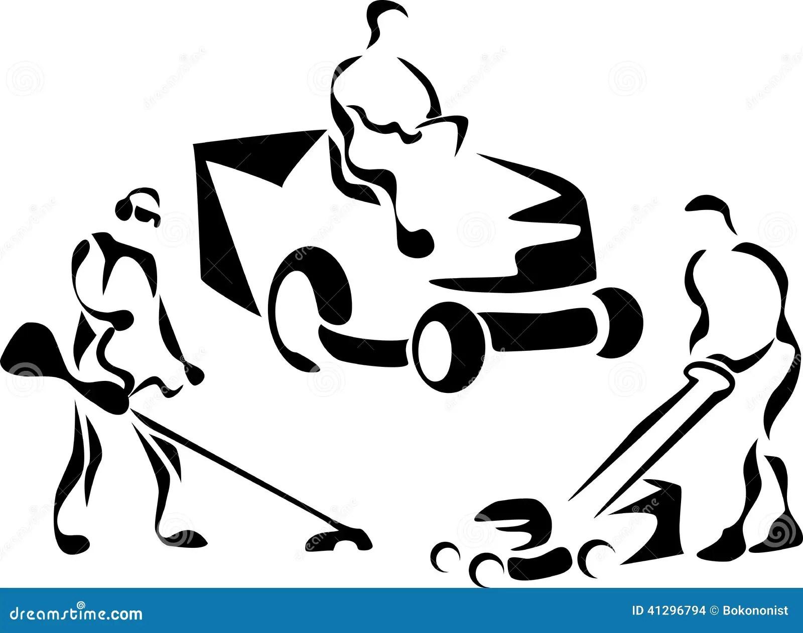 Lawnmower Stock Vector Illustration Of Push Cutting
