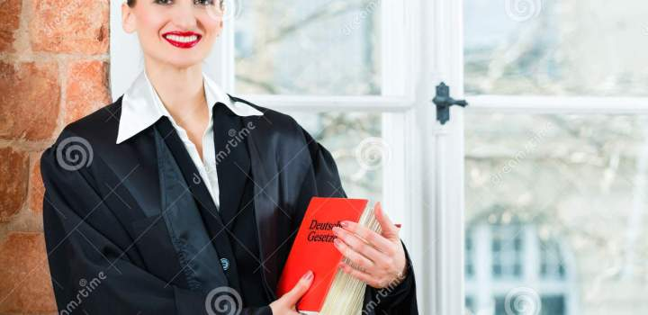 Lawyer In Office Reading Law Book Stock Photo Image