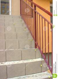 Laying Ceramic Tile On Concrete Stairs Stock Photo - Image ...