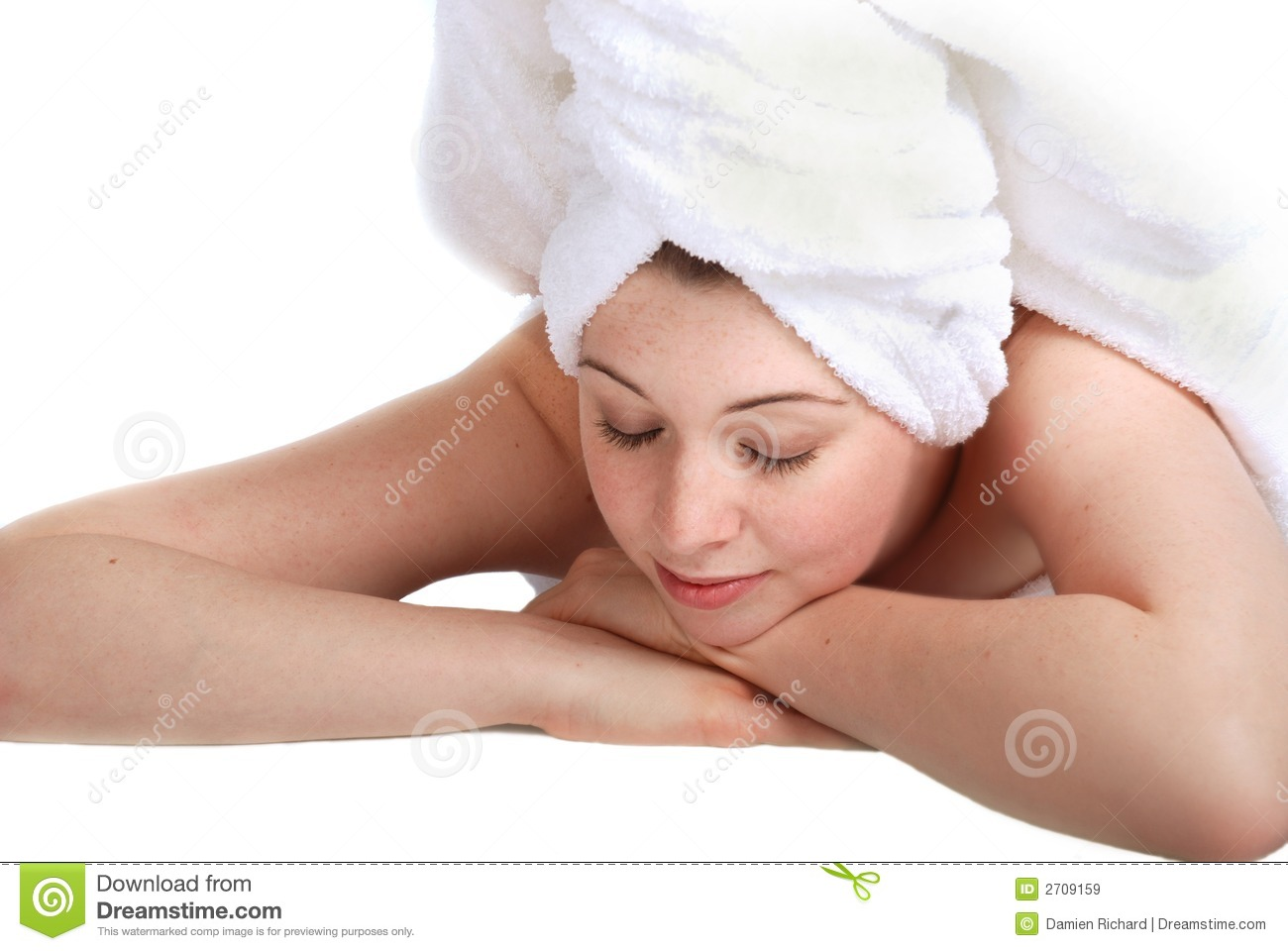 Laying Girl In Towel Royalty Free Stock Images  Image