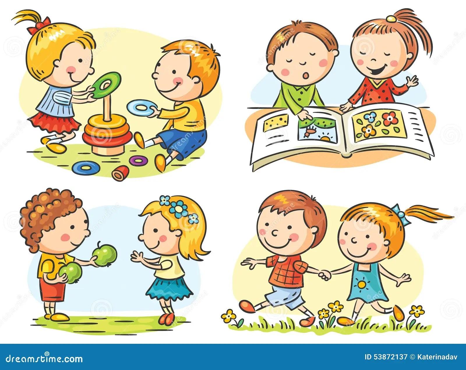Le Attivita Dei Bambini Fissate Illustrazione Vettoriale