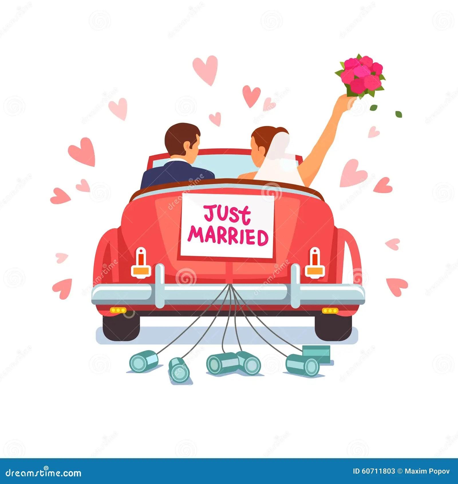 Le Couple De Nouveaux Maris Conduit La Voiture Pour Leur