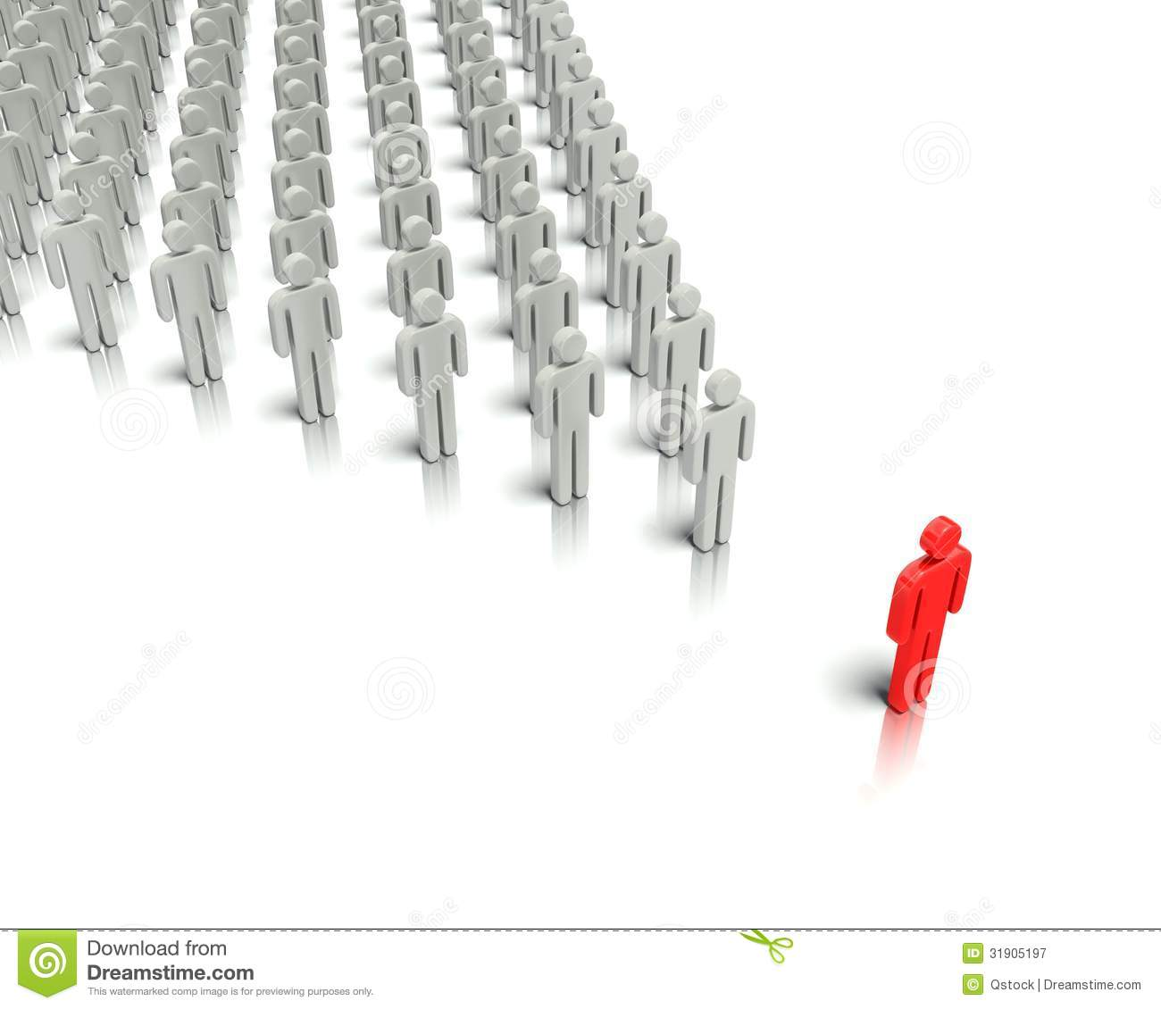 Leader In Front Of A Group People. Stock Illustration