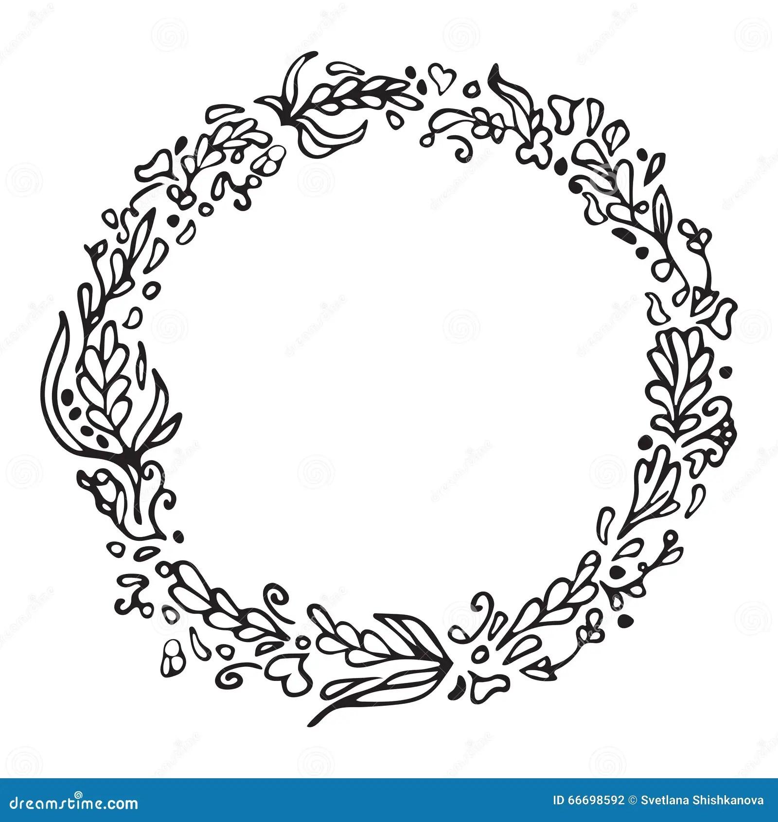 Leaf Doodle Wreath Vintage Round Frame Isolated On White
