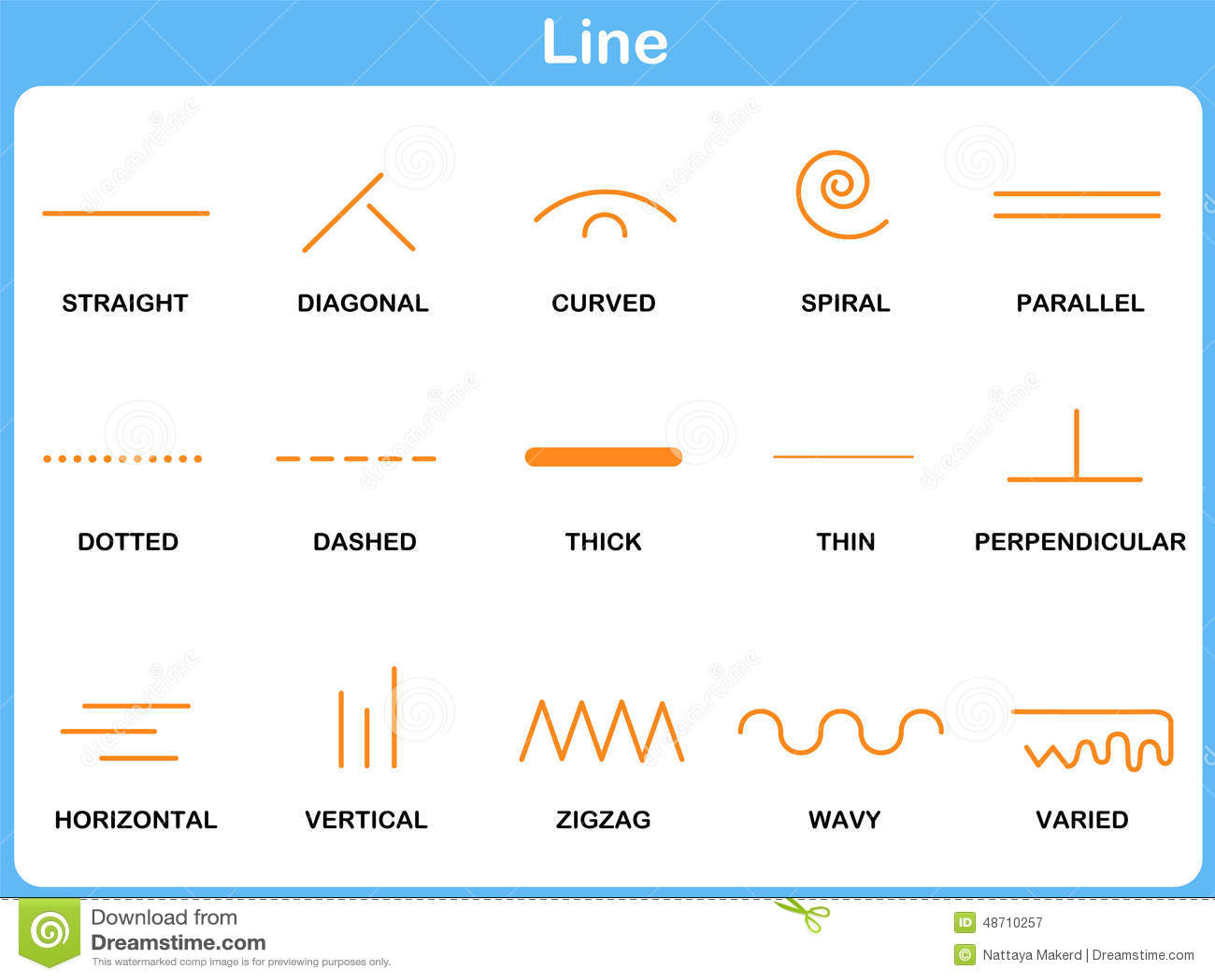 Leaning Line Worksheet For Children Stock Vector