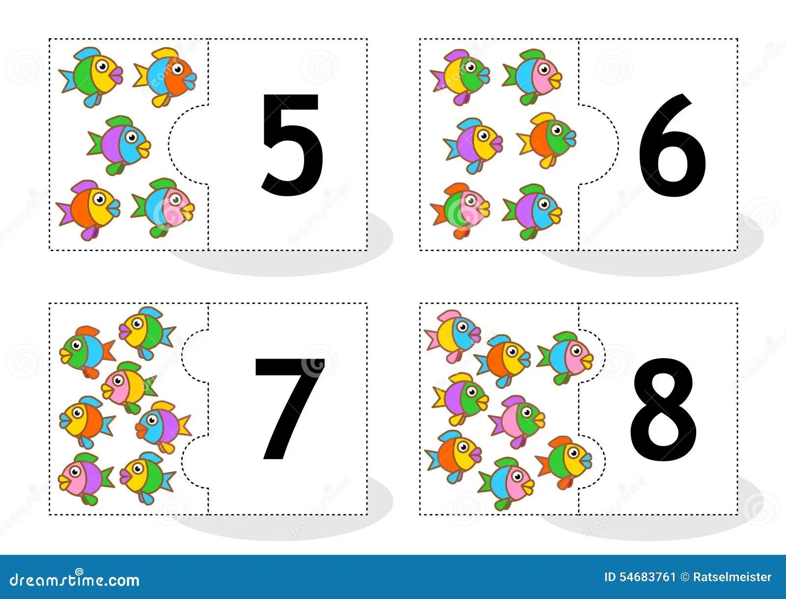 Learn Comptant Des Cartes De Puzzle Avec Des Poissons