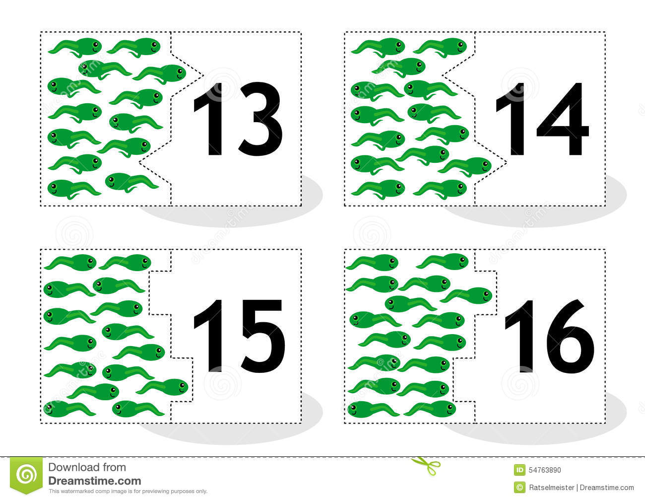 Learn Counting Puzzle Cards Neand Tadpoles Numbers