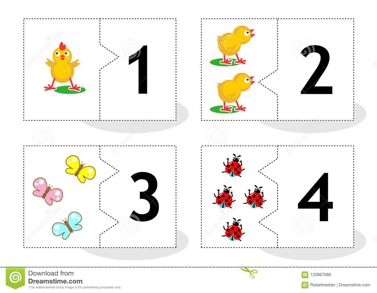 Learn Counting Puzzle Cards Numbers 1