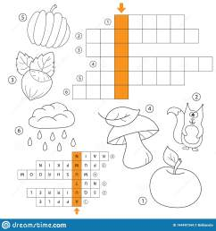 learn english autumn word game for kids vector crossword for kids task and answer coloring book for children of preschool and school age [ 1600 x 1689 Pixel ]