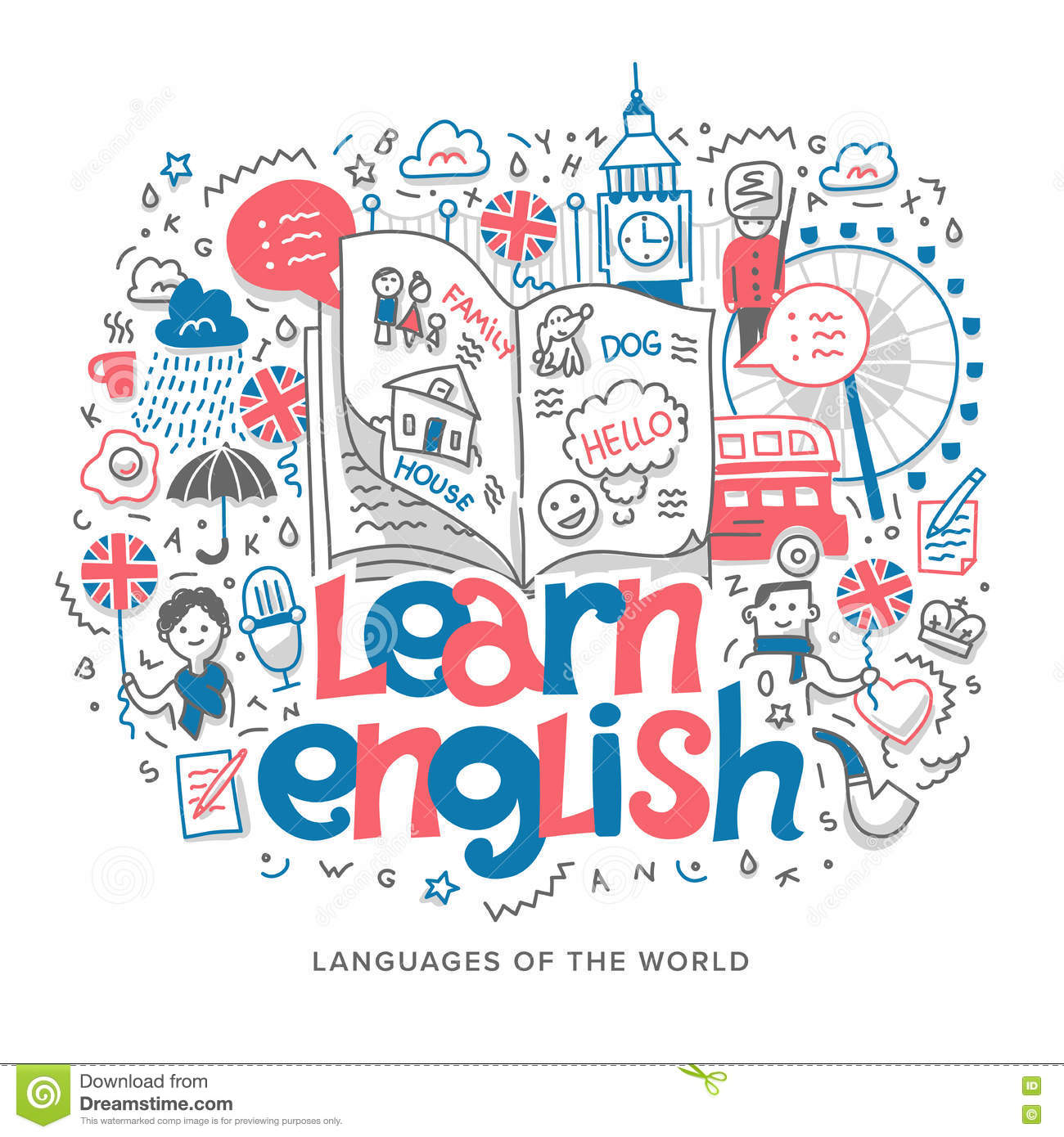 Learn English Concept Illustration Stock Vector