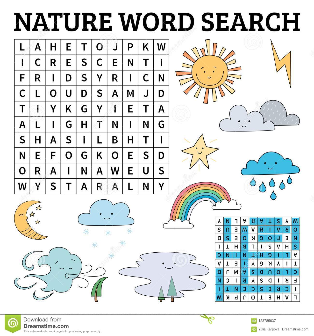 Learn English With A Nature Word Search Game For Kids Vector Il Stock Vector
