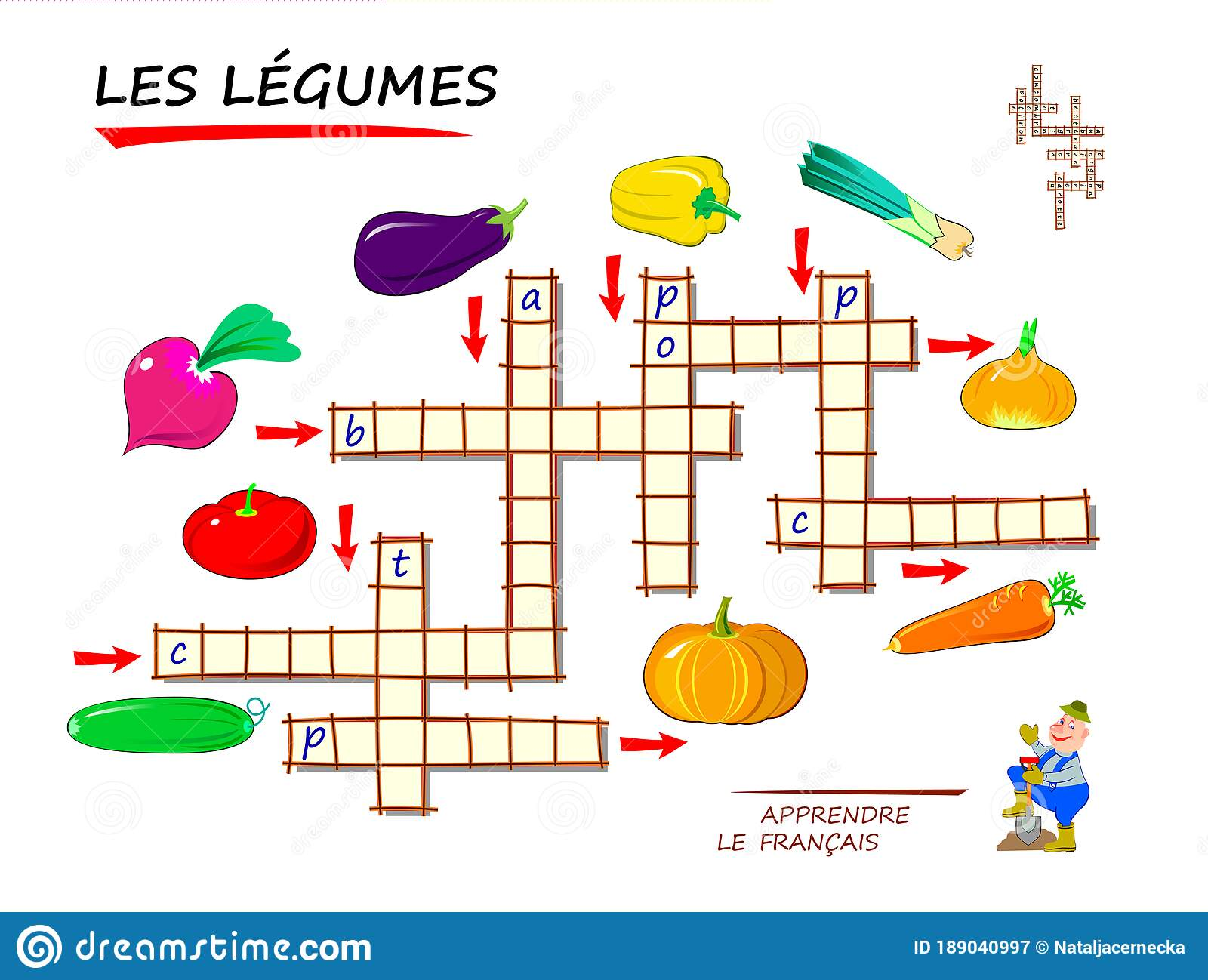 Learn French Crossword Puzzle Game With Vegetables