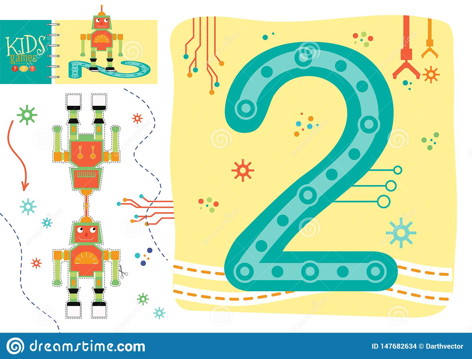 Learn How To Write Number 2 For Preschool Kids Vector