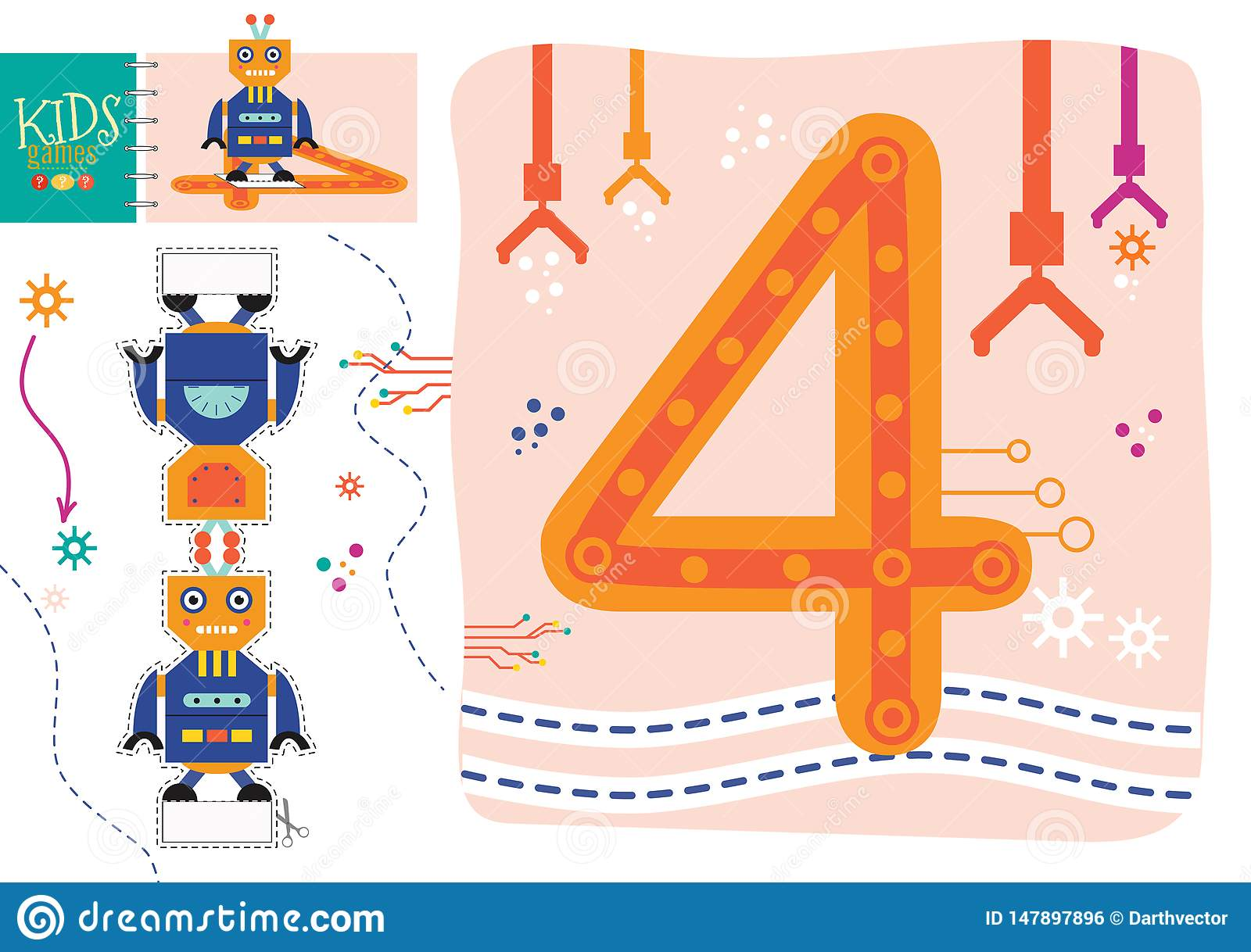 Learn How To Write Number 4 For Preschool Kids Vector