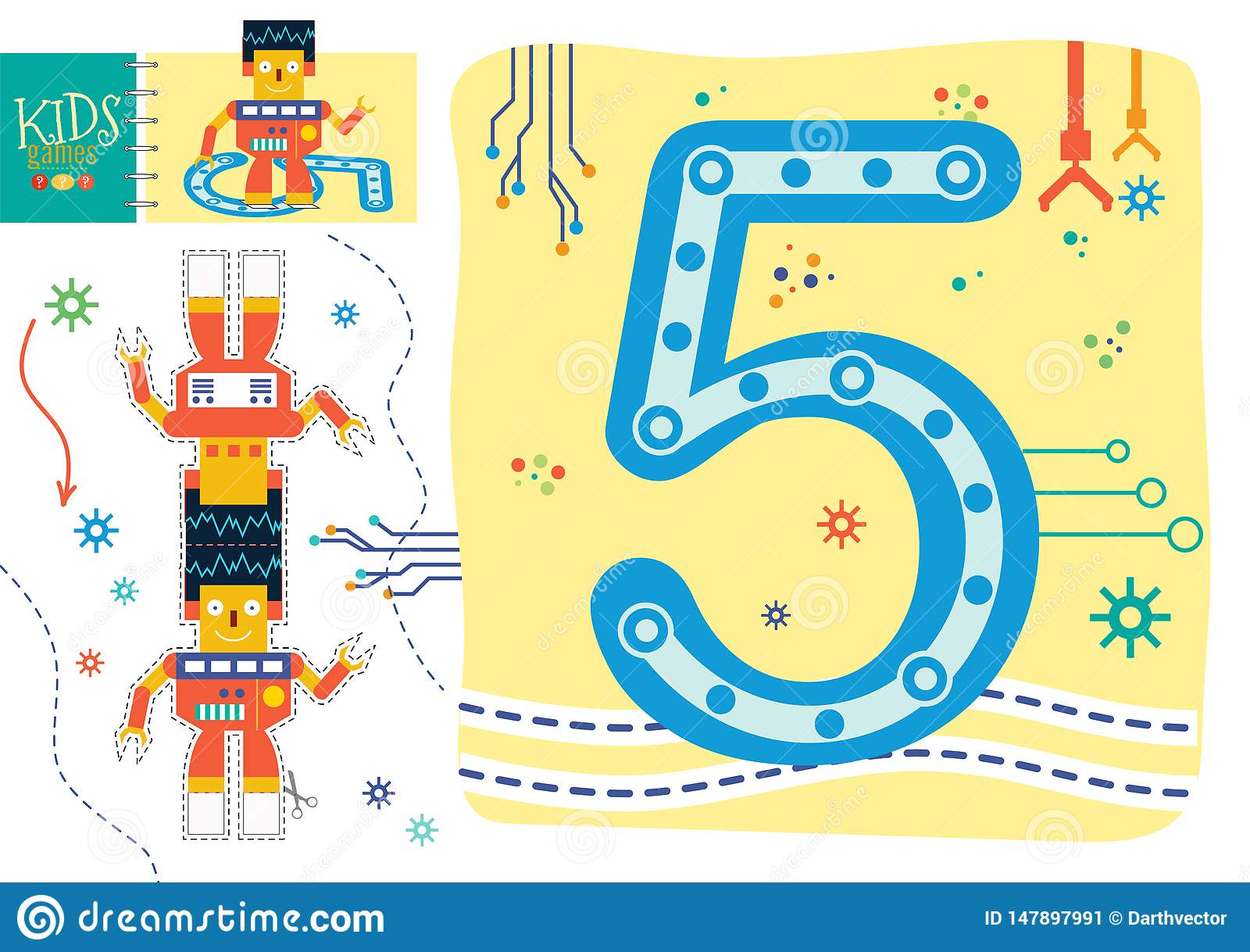 Learn How To Write Number 5 For Preschool Kids Vector
