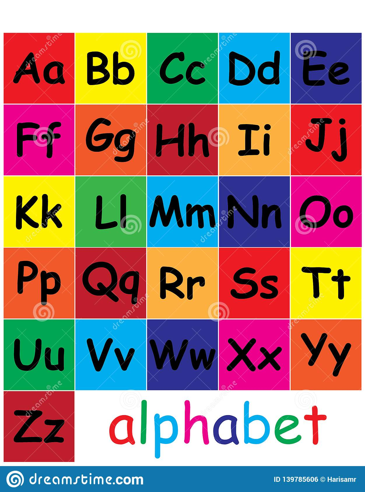Alphabet Printable Flashcards Vector Collection With