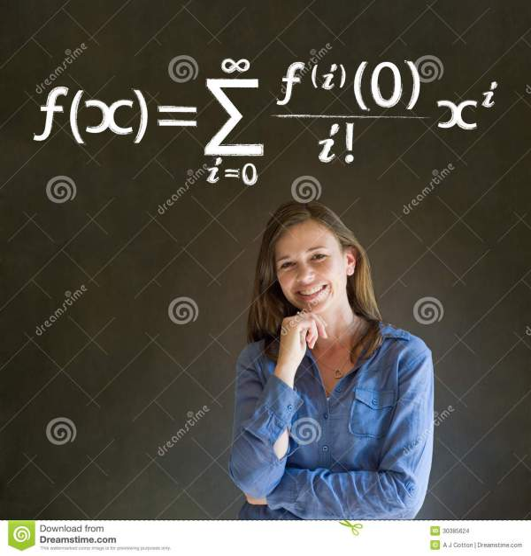 Learn Math Maths Teacher With Chalk Background Stock