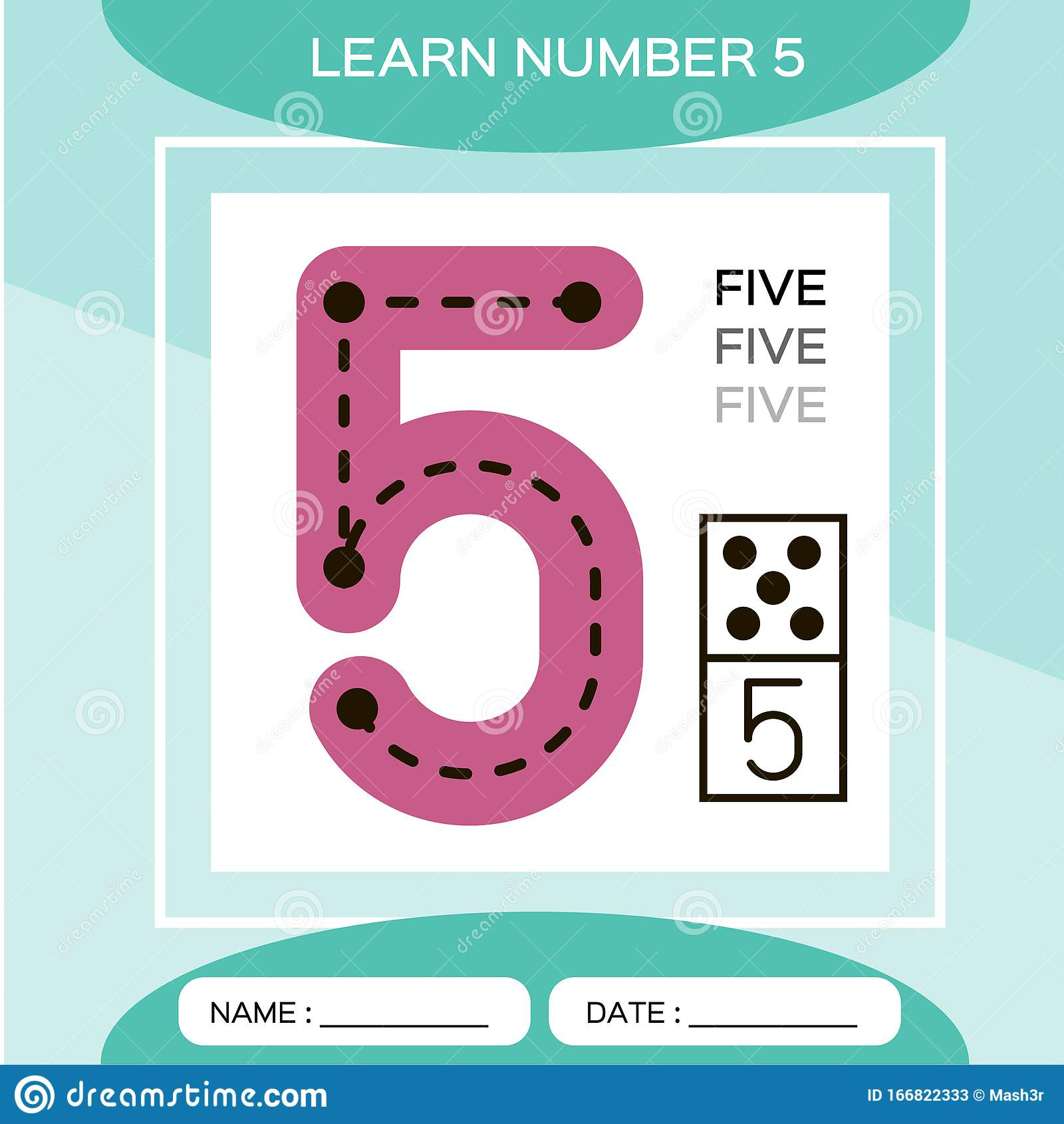 Learn Number 5 Five Children Educational Game Kids