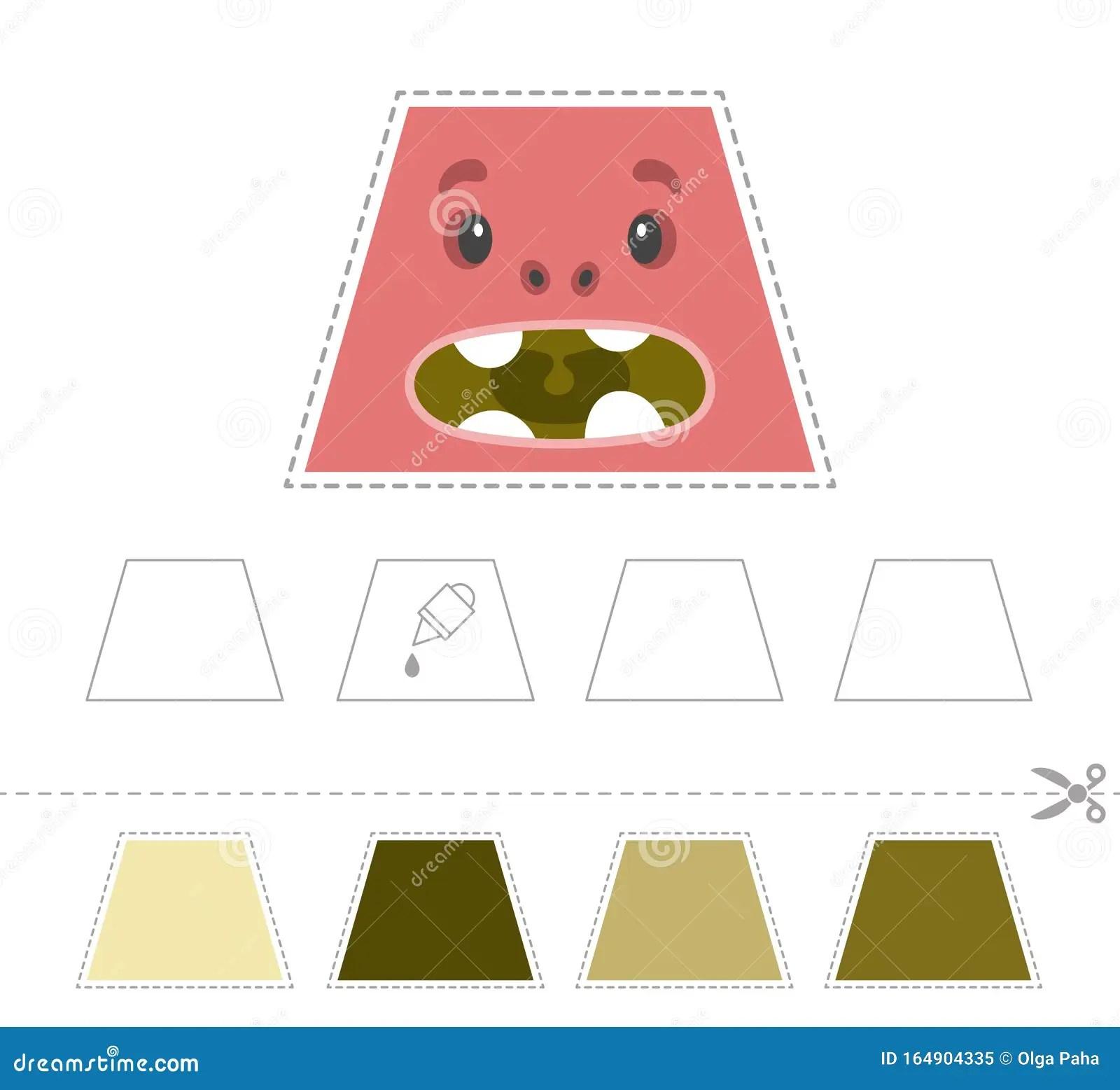 Study The T Zium Cut And Glue Stock Vector