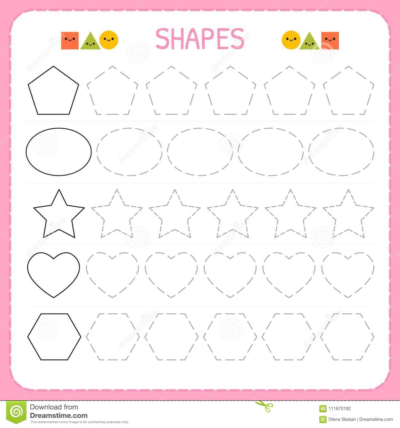 Learn Shapes And Geometric Figures Preschool Or Kindergarten Worksheet For Practicing Motor