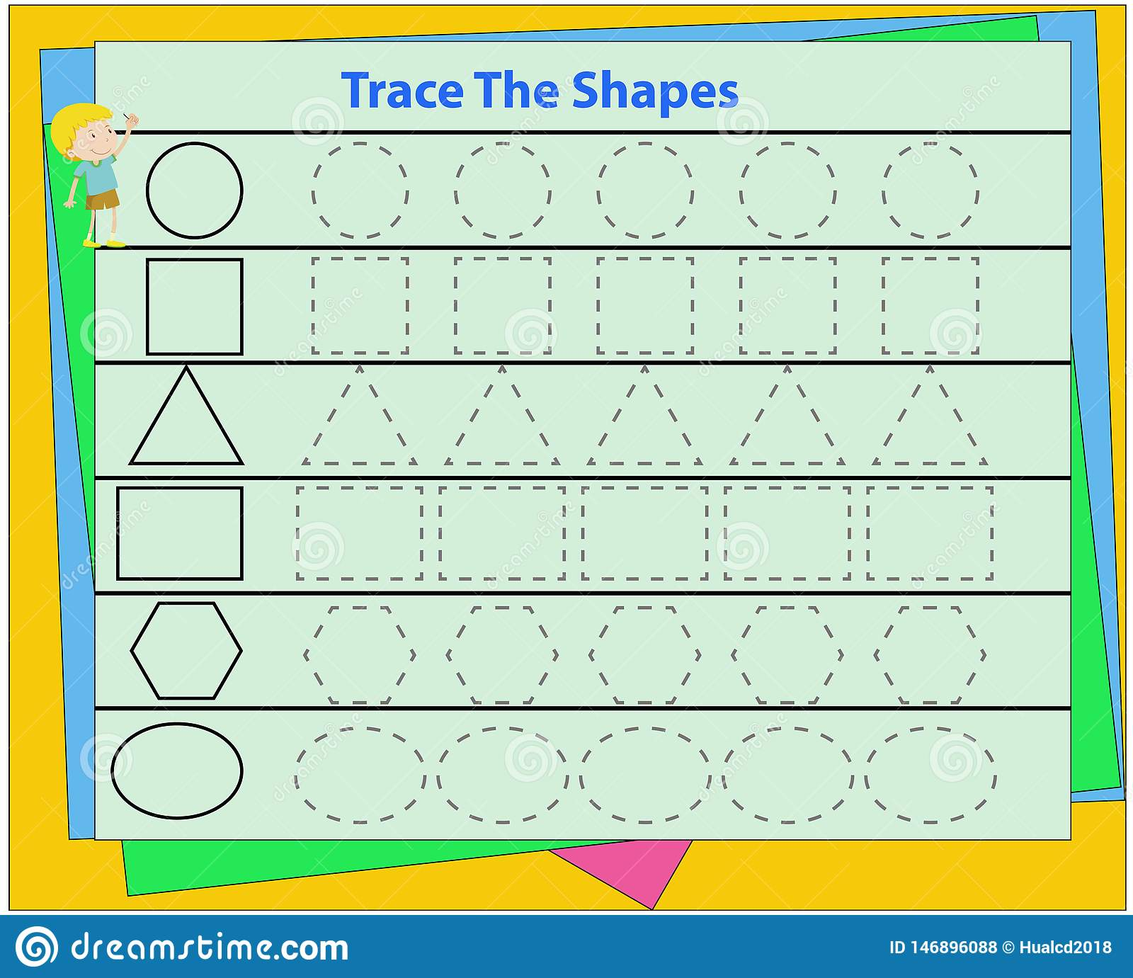 Learn Shapes And Geometric Figures Preschool Or Kindergarten Worksheet Vector Illustration