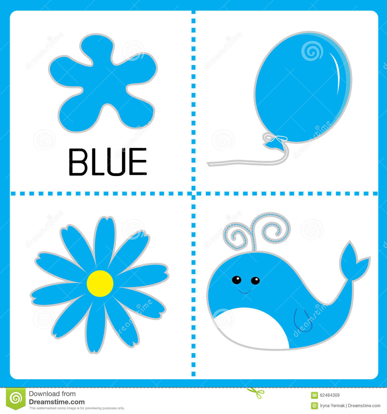 Learning Blue Color Balloon Flower And Whale