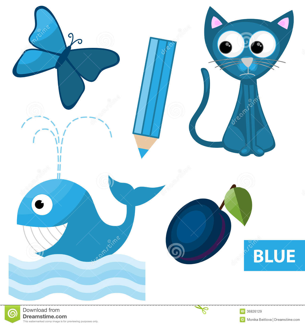 Learning Colors Blue Stock Vector Illustration Of
