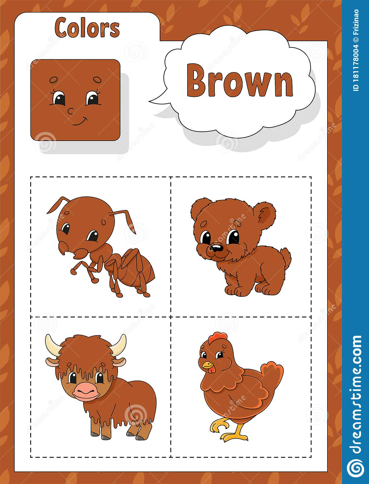 Learning Colors Brown Color Flashcard For Kids Cute